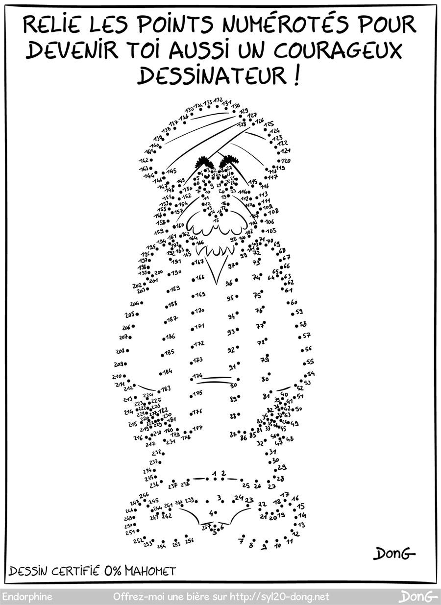 """Mahomet-less. Dessin représentant un jeu de points numérotés à relier pour obtenir un motif. On voit que les points forme un individu enturbanné. Légende """"Relie les points numérotés pour devenir toi aussi un courageux dessinateur !"""""""