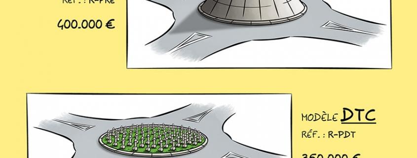 """Dessin présentant quatre modèles de """"giratoires anti gilets jaunes"""" de la société URBAPROP. Le premier modèle appelé Abyss est formé d'un énorme trou au milieu du rond-point. Le deuxième modèle appelé Keops représente un rond-point sous forme de pyramide pointue. Le troisième modèle appelé DTC représente un rond-point recouvert de bites. Le quatrième modèle représente un rond-point surélevé avec aire de pique-nique auquel on accède par une petite tourelle."""