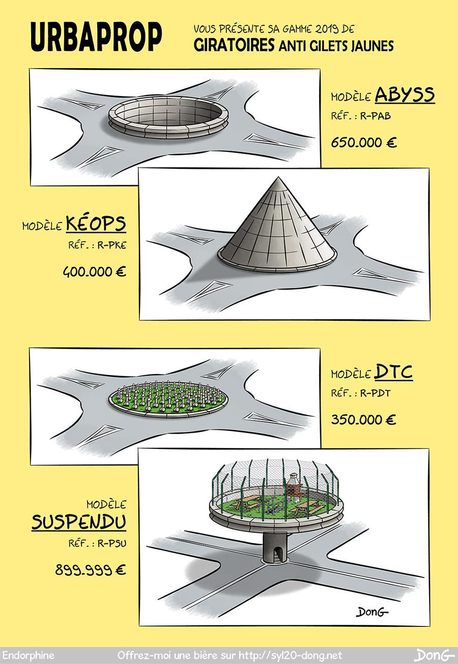 """Gilets Jaunes. Dessin présentant quatre modèles de """"giratoires anti gilets jaunes"""" de la société URBAPROP. Le premier modèle appelé Abyss est formé d'un énorme trou au milieu du rond-point. Le deuxième modèle appelé Keops représente un rond-point sous forme de pyramide pointue. Le troisième modèle appelé DTC représente un rond-point recouvert de bites. Le quatrième modèle représente un rond-point surélevé avec aire de pique-nique auquel on accède par une petite tourelle."""