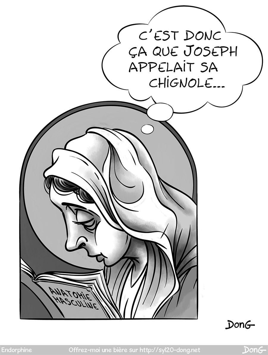 """Dessin de Rosa Mystica (Rose Mystique) autrement appelée la Sainte Vierge, en train de lire un manuel d'anatomie masculine. Elle pense """"c'est donc ça que Joseph appelait sa chignole..."""""""