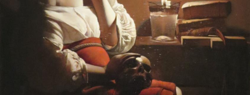 """Tableau de Georges de La Tour représentant Marie-Madeleine pénitente. Elle est assise la tête appuyée sur la main, pensive, regardant la flamme d'une lampe à huile. Elle pense """"Qu'est-ce qu'on se fait chier pendant ces pannes d'électricité..."""""""