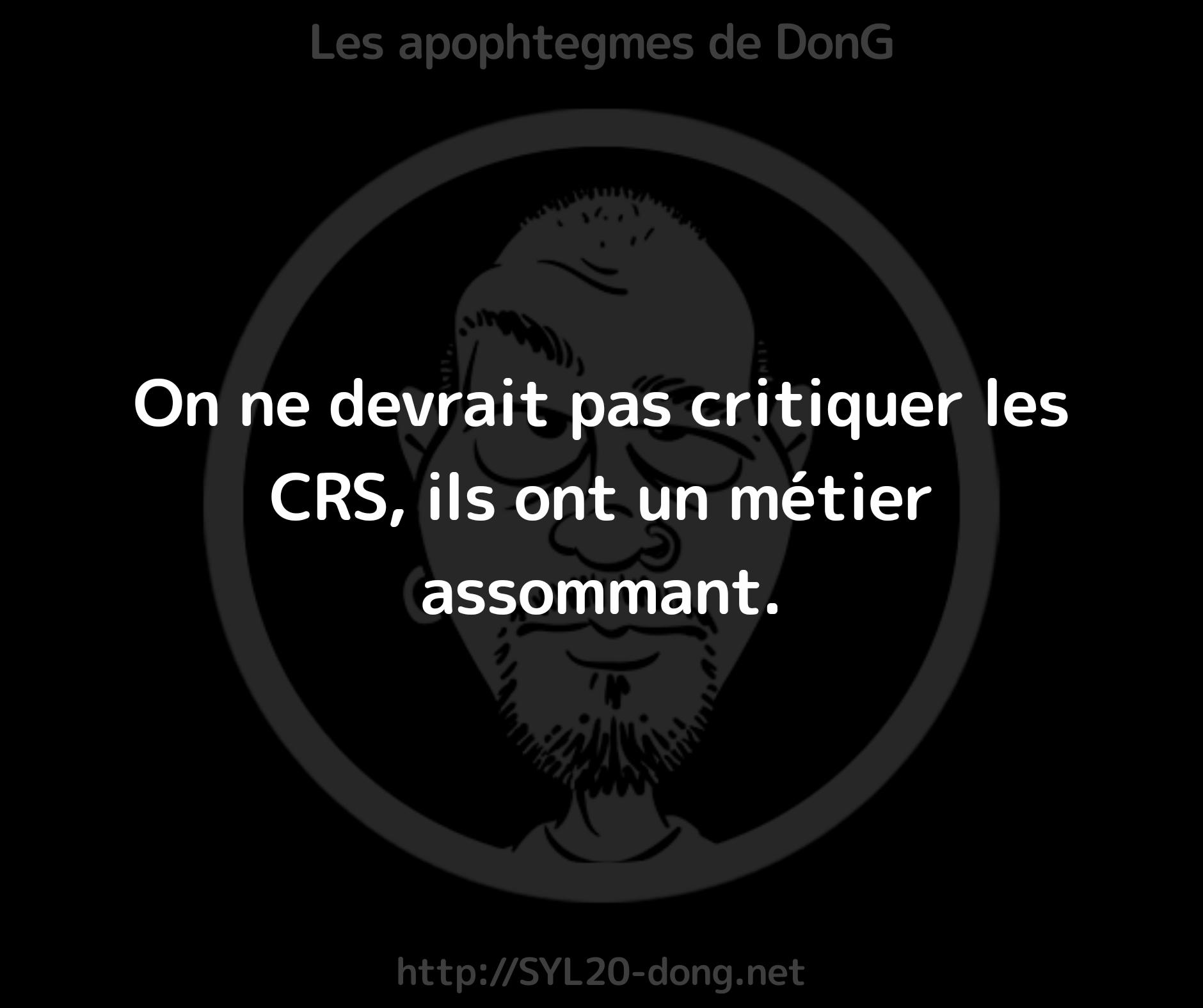 CRS. On ne devrait pas critiquer les CRS, ils ont un métier assommant.