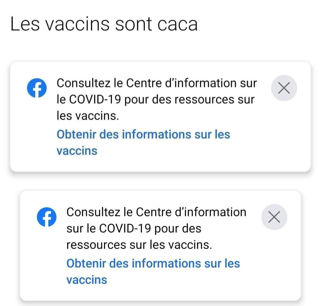 Avertissements sanitaires Facebook