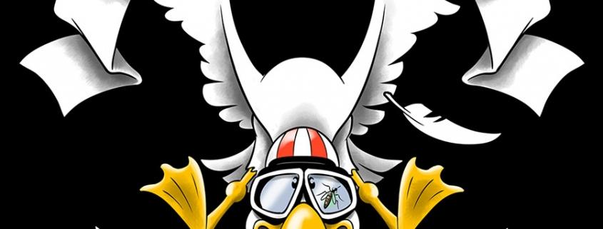 Dessin représentant un goéland de face, ailes écartées et pattes en avant façon aigle. Il a un casque de moto et des lunettes d'aviateur sur lesquelles est collé un moustique.