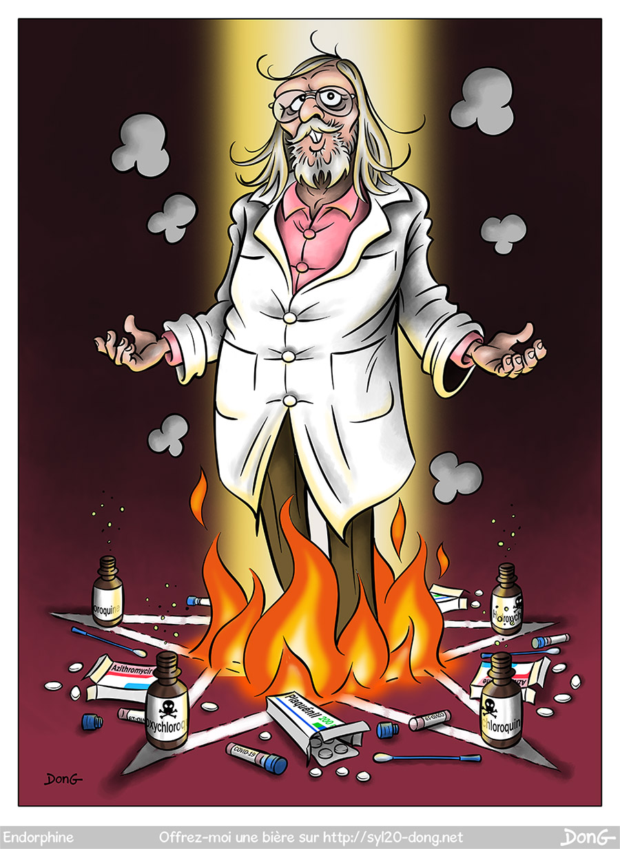 Dessin du Professeur Didier Raoult, debout au milieu d'un pentagramme en feu. Par terre autour de lui sont disposés des tests PCR de dépistage du Covid-19, des boîtes de médicaments (Plaquénil, Azithromycine) et des flacons de Chloroquine et d'hydroxychloroquine