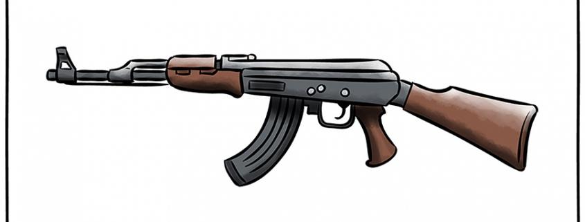 """Dessin d'un fusil mitrailleur Kalachnikov. Légende """"arguments à 2 balles""""."""