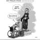 """Dessin de St-François-d'Assise, une auréole en forme de roue sur la tête, en train de bénir à une personne handicapée en fauteuil roulant amputé des deux jambes. Il dit """"assis soit-il"""" et la personne répond """" Saint-François prothésez-moi""""."""